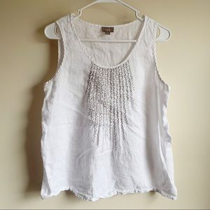 J Jill White Linen Silver Embroidered Tank Top